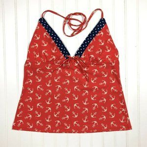 Sperry Swim Tankini Halter Tie Nautical Anchor Red